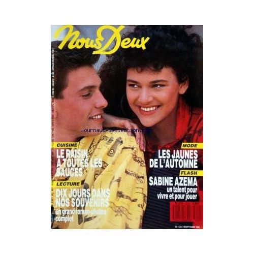 NOUS DEUX [No 2202] du 12/09/1989 - SABINE AZEMA -LES JEUNES DE L'AUTOMNE -LE RAISIN A TOUTES LES SAUCES -10 JOURS DANS NOS SOUVENIRS / ROMAN -PHIL BARNEY