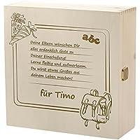 Preisvergleich für Kramkiste 25 x 25 cm als Geschenk zur Einschulung - Holzbox mit Gravur - Motiv Schultafel für Schulanfänger mit Wunschspruch