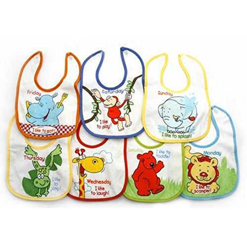 Baby Jungen Lätzchen mit Tier-Designs für 7 Tage der Woche, mit Klettverschluss, 7 Stück (One Size) (Wie abgebildet)