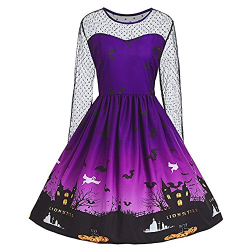 OverDose Damen Mode-Festival Horrible Design Frauen Vintage O-Neck Print Langarm Halloween Party Elegant A-Line Swing Kleid Rock(Violet,EU-50/CN-4XL )