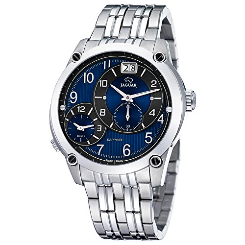 JAGUAR uomo e donna-Orologio da polso analog Fashion in acciaio inox-Bracciale in argento luenette-orologio quadrante blu-nero UJ629/e