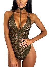 Les femmes lace simple sexy charme lingerie collier fixé fendue arrière halter cou sous vêtements babydolls chemises révélant un dos nu profonde v combinaison