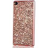 KSHOP Case Cover Accesorio para Huawei P8 Funda cáscara trasera TPU Silicona Suave Flexible Oro Rosa Brillante Bling del Brillo Reluciente Lujo Con Bumper Parachoque Enchapado Rose