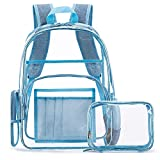 FOSTAK Klar Rucksack PVC Transparent Taschen Durchsichtig Schulrucksack Clear Bookbag Reise Backpack Gepäck Beutel Outdoor Organizer Fit 15 Zoll Laptop,Blau