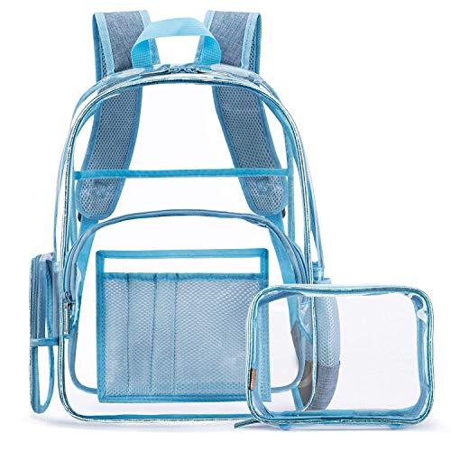 FOSTAK Klar Rucksack PVC Transparent Taschen Durchsichtig Schulrucksack Clear Bookbag Reise Backpack Gepäck Beutel Outdoor Organizer Fit 15 Zoll Laptop,Blau -