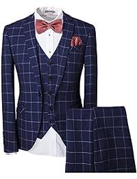 Modisch Slim Fit Schnitt Herren 5-Teilig Anzug Kariert Design in blau mit Weste + Handtuch+Fliege Hochzeit Party