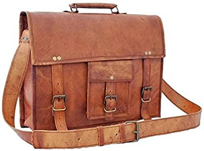 In-india Cuir Vintage Cross Body Messenger Courier sacoche sac cadeau homme femme ~ Business travail sacoche de transport pour ordinateur portable ordinateur Book (Marron)