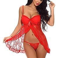 Sexy Lencería EUZeo Sexy Babydoll Lenceria Sexy Hueco Strappy Bowknot Cárdigan Camisón con Relleno V Tanga De Encaje Ropa Interior De Las Mujeres Sleepwear Ropa Interior (XL, Rojo)