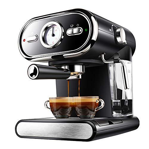 ZGZXD Italienische Kaffeemaschine, Halbautomatische Filter Espressomaschine 20Bar Pumpendruck Dampfmilchschaum,Schwarz - Schwarze Halbautomatische Espressomaschine