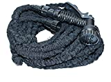 Stronger Double Latex Inner Tube Prevent Leaking Flexible Expandable Stretch Hose with Extra Strength Fabric and Professional Spray Gun Tap to Pressure Washer Suitable Pipe Light Weight Non Kink Water Spray Nozzle Dual layer Construction, Taps Adaptor included (Black, 75ft)