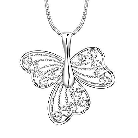 amdxd Jewelry Silber vergoldet Anhänger Halsketten für Frauen Silber Schmetterling Schleife Halskette