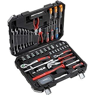 Meister Werkzeugkoffer 76-teilig - Werkzeug-Set - Für Haushalt, Garage & Werkstatt / Profi Werkzeugkoffer befüllt / Werkzeugkiste / Werkzeugbox komplett mit Werkzeug / 8973300