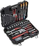 Meister Werkzeugkoffer 76-teilig - Werkzeug-Set - Für Haushalt, Garage & Werkstatt/Profi Werkzeugkoffer befüllt/Werkzeugkiste/Werkzeugbox komplett mit Werkzeug/8973300
