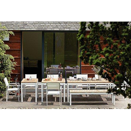 Quadrat Tisch - Gestell weiß, Platte Teak natur / 80 x 80 cm, h 76 cm