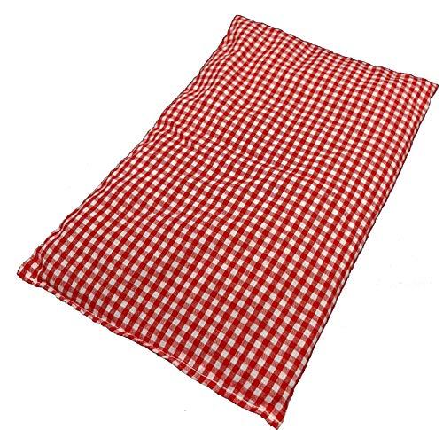M&H-24 Kirschkernkissen Wärmekissen Körnerkissen Kältekompresse Wärmekompresse - Kirschkern Kissen für Mikrowelle Backofen wohltuende trockene Wärme für Kinder und Erwachsene 20x30 cm Groß Rot-Weiß