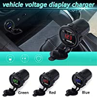 Binoster Dual USB Charger Socket car 3.1A Dual Port Power Outlet with LED Voltmeter & Wire Fuse for Car Boat Marine Motorcycle 12-24V (Red led)