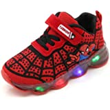 FINDPITAYA Chaussures De Sport LED pour Enfants Unisexes Chaussures Spider Lumineuse Taille 25-32 (Rouge, 25)