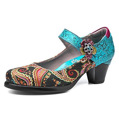 Gracosy Botines para Mujer Tacones de Cuero Primavera y Otoño Zapatos de Cuero Boho para Mujer 2019...