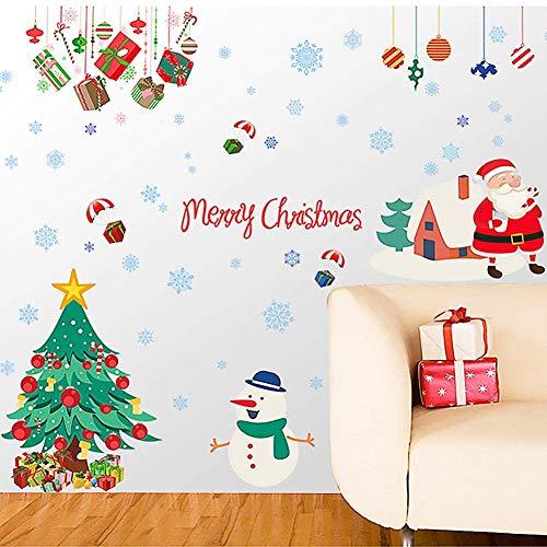 Cityeast Weihnachten Fenster Aufkleber Abnehmbare Wandaufkleber DIY Home Decor Glas Tür Aufkleber Styling Aufkleber Dekoration für Weihnachten Neues Jahr Santa Claus (Dekorationen Für Das Neue Jahr)