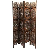 Worthy Shoppee Handicraft Home Décor 4 panel Premium Quality Wooden Room Divider / Wooden Screen Partition