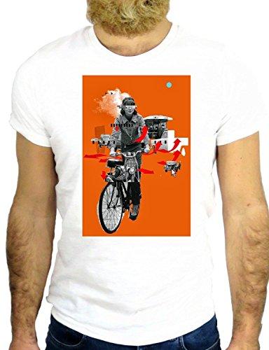 T SHIRT Z0613 BICYCLE COOL NICE VINTAGE COOL UK CARTTON HIPSTER ORANGE GGG24 BIANCA - WHITE