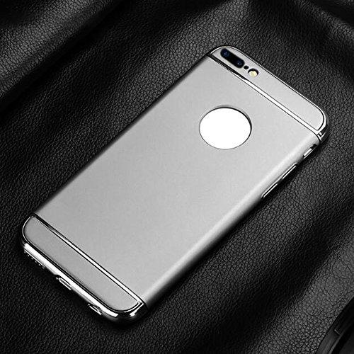 Cuitan 3 in 1 PC Dur Housse Case pour Apple iPhone 7 (4,7 Inch), avec Galvanoplastie Bumper Retour Housse Back Cover Protecteur Etui Coque Cover Shell pour iPhone 7 (4,7 Inch) - Rouge Argent
