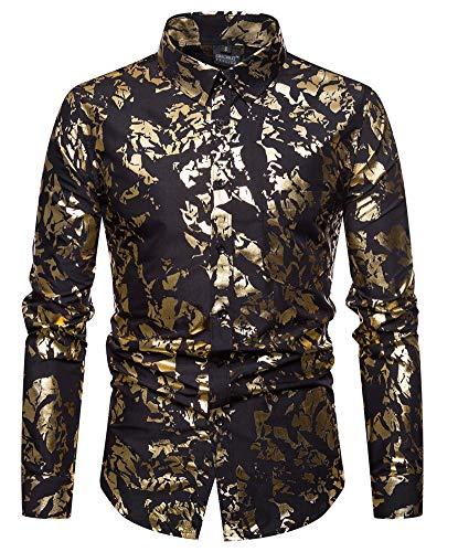 Versaces Männer Hemd Geschäft Heißprägen Mode Revers Baumwolle Lange Ärmel Freizeit Hemd, Color 2, S