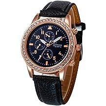 Relojes Pulsera Mujer, Xinan Relojes de Cuarzo de Cuero de Moda Banda Analógica (Negro)