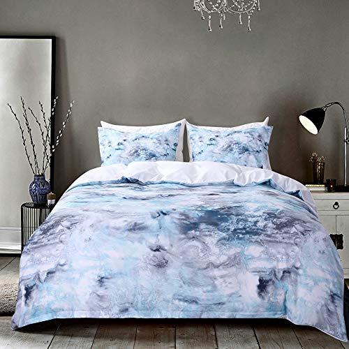 H-YU Bettdecke Set Bettbezüge Set Blauer Marmor, 3 Stück-Tröster Quilt-Deckel mit Reißverschluss-Verschluss, Bio-modern-Stil für Männer und Frauen, König