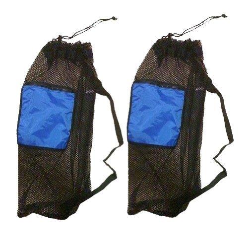 2Stück Mesh Kordelzug Schnorchel Tasche mit Blau Reißverschluss Tasche