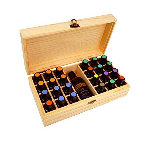 Aufbewahrungsbox für Ätherische Öle Aromen Holzbox Holzkoffer für Aufbewahrung (24 Fächer)