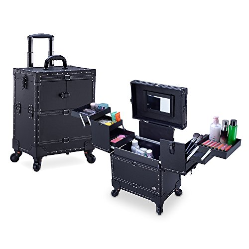 MUA Limited Makeup Trolley, Professional Hair Stylist Cosmetic Storage on Wheels, Pullout Drawers, Studded Black
