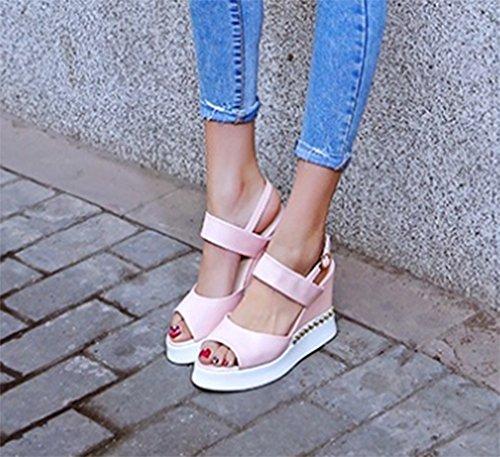 Aisun Damen Fashionable Niete Peep Toe Durchgängig Plateau Keilabsatz Plateau Schnalle Sandalen Pink