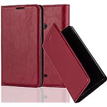Nokia Lumia 625 Custodia di Libro di Finta-Pelle in ROSSO MELA di Cadorabo (Disegno CHIUSURA MAGNETICA INVISIBLE) – con Vani di Carte Funzione Stand e Chiusura Magnetica – Protezione per Fronte e Retro Portafoglio Cover Case Wallet Book Etui Full Body