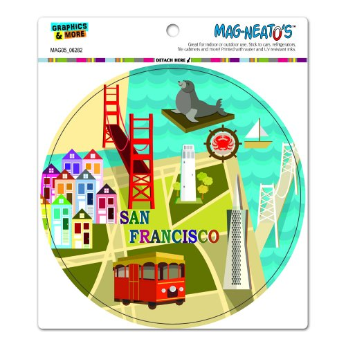 Lions Bay (San Francisco – Golden Gate Bridge Bay Transamerica Pyramid Pier 39 Coit Tower Sea Lion Kreis Mag-Neato 's-TM) Automotive Auto Motorhaube Kofferraum Kühlschrank Locker Vinyl Magnet)