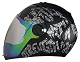 #6: Steelbird Air SBA-2 Strength Night Vision Full Face Graphics Helmet - Single Night Vision Dual Action Visor for Day and Night (Large 600 MM, Matt Black/Silver)