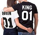 Minetom Été Femme Homme Couple T-shirt Partner Look King and Queen Lettre Printed Roi Reine pour les Couples Manches Courtes Tops Tee des Cadeaux (King(Homme)/FR S, Tshirt)
