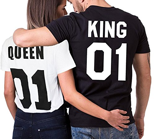 Minetom Pärchen Herren Damen T-Shirts Casual Brief Drucken King and Queen Kurzarm Couple Pullover Sweatshirt Jumper Sweater Bluse Top Schwarz DE 54 (Retro Leichter Sweater American)
