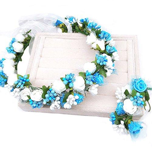MANYU dressfan Blume Garland Stirnband Blume Handgelenk Hochzeit Braut Braut Brautjungfer Mädchen Headwear einstellbar