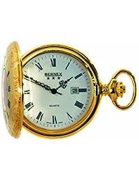 Bernex Swiss Made Quartz Gold Plate Half Hunter Pocket Watch, Patterned case