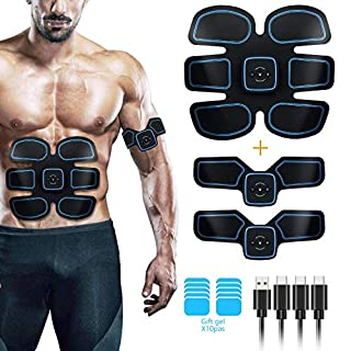 Muscle Stimulator, EMS Abs Trainer Abdominal Belt USB Rechargeable Muscles Toner for Abs Arms Legs with 10PCS Replacement Gel Pads&Support Belt&6 Modes 10 Levels for Men