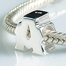 Alfabeto encantos de letra inicial A-Z auténtica 925cuentas de plata para pulsera de Pandora encantos