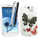 Samrick Étui en hydrogel protecteur avec protection d'écran, chiffon en microfibre et mini-stylet stylet noir et blanc pour Samsung Galaxy S3 i9300/LTE Motif papillons Noir/rouge/blanc