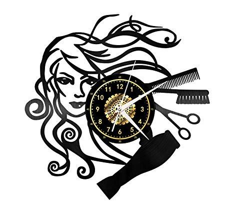 Mendder Ambiente Exquisito Mujer con Herramientas De Peluquería Disco De Vinilo 3D Reloj De Pared Grabado con Láser Hogar Moda Arte Decoración Mudo Puntualidad