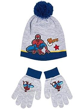 Spiderman Jungen 2 tlg Set bestehend aus: Mütze und Handschuhe - grau