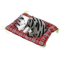 1pcs gato de peluche super mini cute cat juguetes simulación dormir gatos juguetes de peluche con sonido, Black Gray