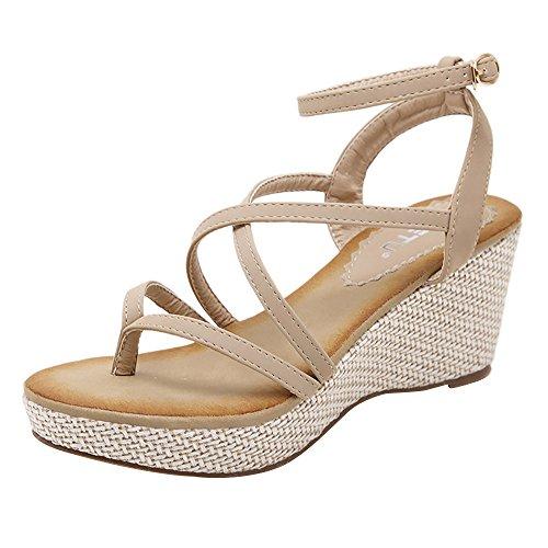 Ularma Damen Keil Sandalen Elegant Bandage Zehentrenner Sommer High Heel Schuhe Khaki