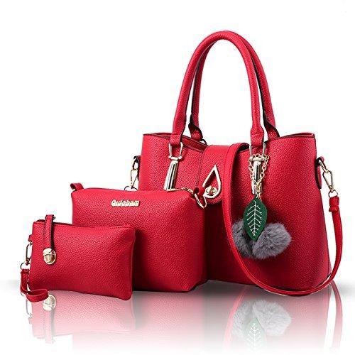 Sunas nuovo Femminile Borsa a mano Moda Set di 3 borse Borsa a mano + Borsa messenger + Purse vino rosso