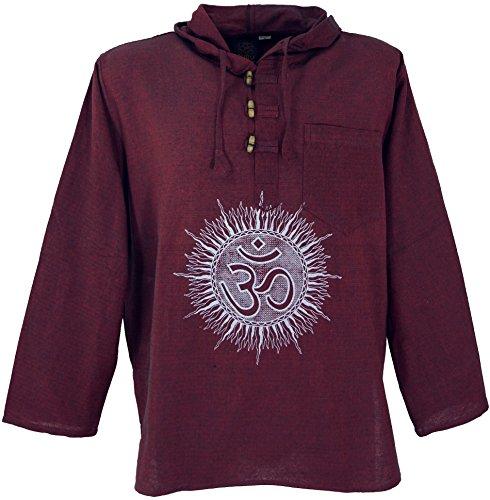 Guru-Shop Yoga Hemd, Goa Hemd Om, Sweatshirt, Herren, Baumwolle, Männerhemden Alternative Bekleidung Bordeaux