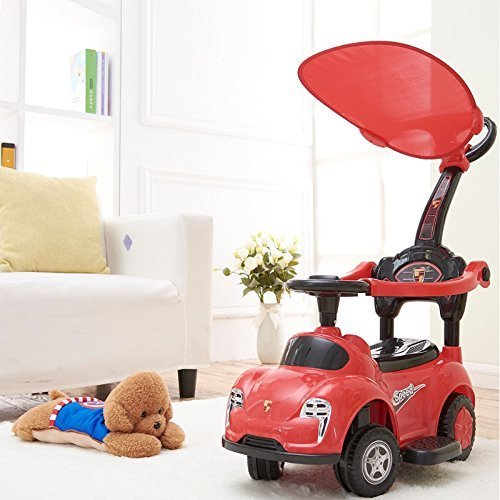 Rexco 3in1 Red Ride On Car Push Along Baby Walker Toddler Infant Toy Handle